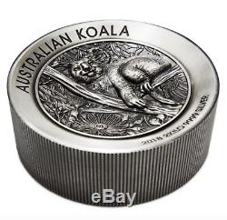 Australian Koala 2018 2 Kilo Argent High Relief Antiqued Coin Épuisé Coa # 45