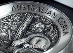Australian Koala 2018 2 Kilo Argent High Relief Antiqued Coin Épuisé Coa # 53