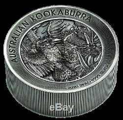 Australian Kookaburra 2020 2 Kilo Argent Antiqued High Relief Coin