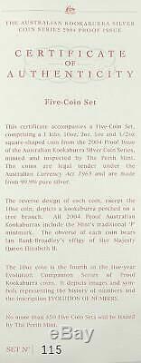 Australien Kookaburra 5 Coin Pp Proof Silber Argent 2004 1/2 1 2 10 Unzen Kilo