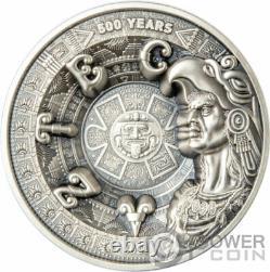 Aztec Empire 500ème Anniversaire Multicouche 1 KG Kilo Argent Pièce 25$ Samoa 2021