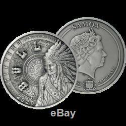 Finition Sitting Bull Multilayer Kilo Coin 1 Kilo Antique Silver Coin Samoa 2020