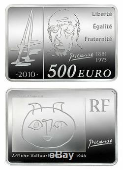 France 2010 Picasso 1 Kilo Silver Proof Coin Avec Boîte