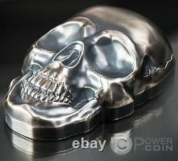 Grand Skull Forme 1/2 Kilo Argent Pièce 25$ Palau 2017