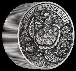 Grande Barrière Reef 2021 2 Kilo 99999 Argent Antiqued High Relief 60 $ Pièce 200 Mtg