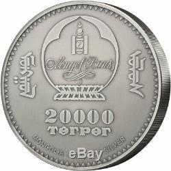 Gulo Gulo Wolverine Faune 1 KG Kilo Argent Monnaie 20000 Togrog Mongolie 2020