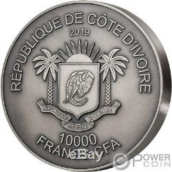 Leopard Big Five Mauquoy 1 KG Kilo Argent Monnaie 10000 Francs Côte D'ivoire 2019