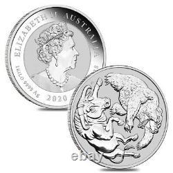 Lot De 2 2020 1 Kilo Silver Australian Bull Et Bear Coin Perth Mint. 9999