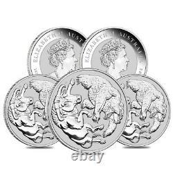 Lot De 5 2020 1 Kilo Silver Australian Bull Et Bear Coin Perth Mint. 9999