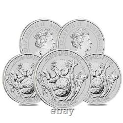 Lot De 5 2021 1 Kilo Silver Australian Koala Perth Mint. 9999 Bu Fine Dans Le Chapeau