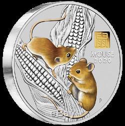 Lunar Series III 2020 Année De La Souris 1 Kilo Silver Coin Avec De L'or Privé Mark