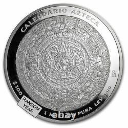 Mexique 1 Kilo Argent Aztèque Calendrier (année De Rando, Pièce Seulement) Sku#197412