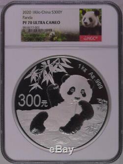 Ngc 2020 Pf70 Chine Panda 1 Kilo Silver Coin Avec Coa