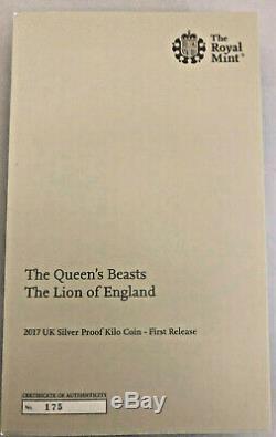 Ngc Pf 70 Le Lion D'angleterre Au Royaume-uni En Argent Épreuve Numismatique Un Kilo Coin La Bêtes Reine