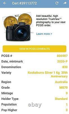 Pcgs Ms70 2020 Kookaburra. 9999 Argent Kilo Coin Australie 1 $ Finest Pop Connu 1