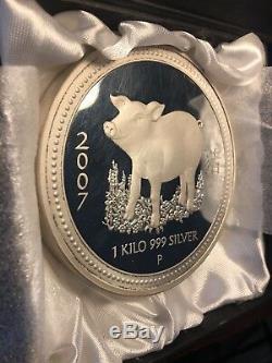 Perth Mint Australie $ 30 Lunar Pig 2007 1 KG Kilo. 999 Silver Coin (100 Frappées)