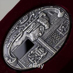 République Du Tchad 2017 10000 Francs Cfa Uxmal 1 Kilo Fini Antique Silver Coin