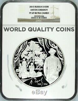 Russie 2010 Argent Monnaie 1 Kilo KG 100 Roubles Anton Tchekhov Ngc Pf69-500 Mintage