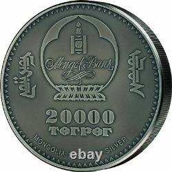 Sinraptor Evolution De La Vie 1 Kilo Antique Finition Argent Coin Mongolie 2020