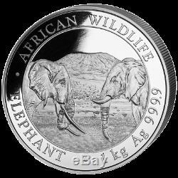 Somalie 2,000 Sh. 2020 Elefant Faune Africaine 1 Kilo Silber St