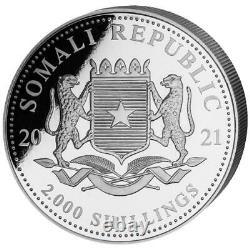 Somalie 2.000 Sh. 2021 Elefant African Wildlife Anlagemünze 1 Kilo Silber St