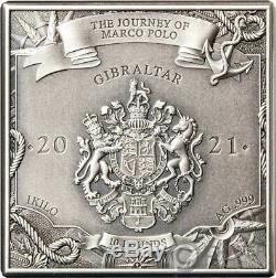 Trajet De Marco Polo Cube 1 KG Kilo Argent Monnaie 10 Pounds Gibraltar 2021